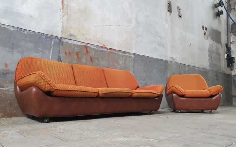 Design Bank Oranje.Retro 70 Zithoek Oranje 3 Zits Bank Stoel Stoelen En Banken