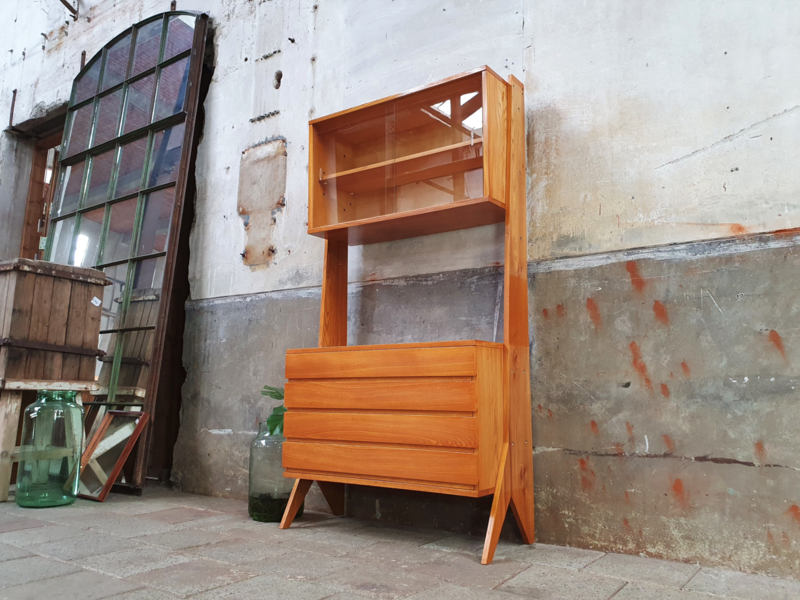 Jaren '60 Design Highboard met Vitrine II