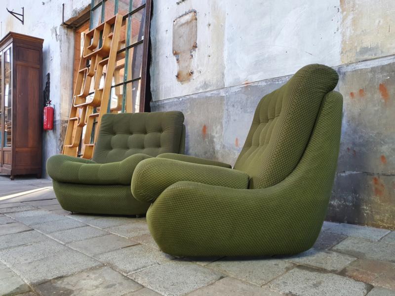 Jaren '70 Groene Relax Fauteuils II