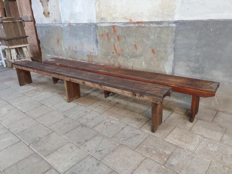 Vintage Houten Schoolbanken 300cm