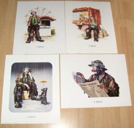 CLOWNEN THE EMMETT KELLY Jr COLLECTION 4), 4 POSTERS