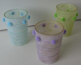 WAXINELICHTJE GLAS BLAUW, GROEN, PAARS 6 STUKS
