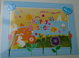 PLACEMAT BLAUW HAPPY EASTER 4 DELIG