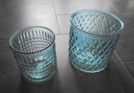 WIND- WAXINELICHT GROEN BLAUW SET 15 EN 12,5 CM GLAS