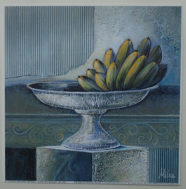 POSTER 18x18 cm A BOWL WITH BANANA'S