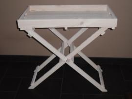 Bijzettafel inklapbaar dienblad white wash butler tray 70x38x70 cm