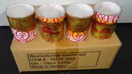 WAXINELICHTJES GLAS AZIEEN RED 12 STUKS