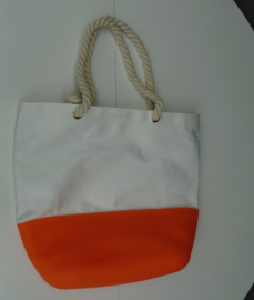 TAS STRANDTAS SHOPPER CANVAS SILICONE WIT ORANJE