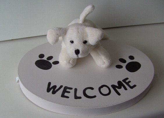 PLUCHE HOND WELCOME WIT Appletree