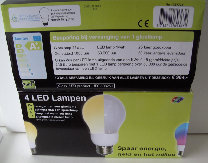 "LED LAMP 4 LAMPEN PER DOOS ENERGIE ZUINIG WAT ""LED"" JE!."