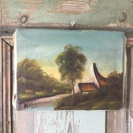 Schilderijtje huisje met boom
