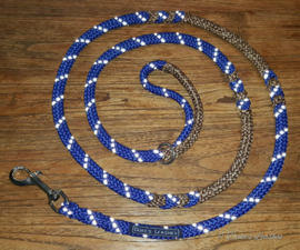 Looplijn blauw/bruinmelee 2 mtr lang 8mm dikte met RVS beslag