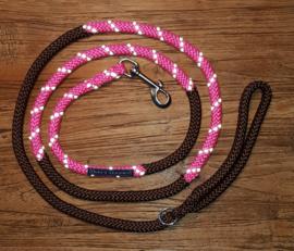 Looplijn roze/bruin 2 mtr lang 8mm dikte met RVS beslag