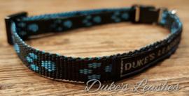 Halsband 10mm zwart/blauwe voetjes maat XS