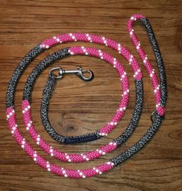 Looplijn roze/grijs melee 2 mtr lang 8mm dikte met RVS beslag