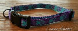 Halsband 10mm paars/blauwe voetjes maat XS