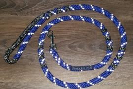 Looplijn blauw/zwartmelee 1.40 lang 8mm dikte