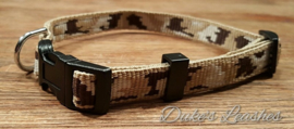 Halsband 15mm beige legerprint maat S