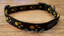 Halsband 15mm zwart/gele voetjes maat S