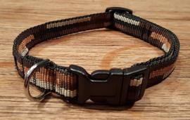Halsband 15mm bruin retro maat S