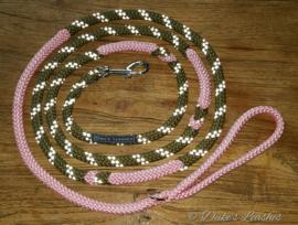 Looplijn jachtgroen/roze  2.50 mtr lang 8mm dikte