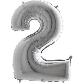 XXL Cijferballon 2 Zilver