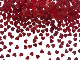 Confetti Hartjes, glimmend rood, 5mm