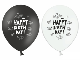 Ballon Happy Birthday zwart-wit (10 st)