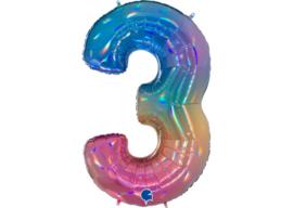 XXL Cijferballon 3 Regenboog