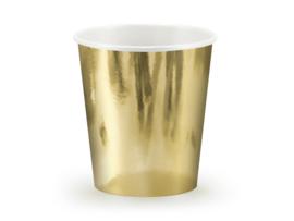 Gouden papieren bekers, 180ml 6 stuks