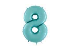 XXL Cijferballon 8 Pastel Blue