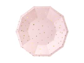 Papieren bordjes licht roze met gouden sterren (6 st)