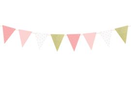 Vlaggenlijn: wit, roze, goud