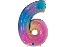 XXL Cijferballon 6 Regenboog