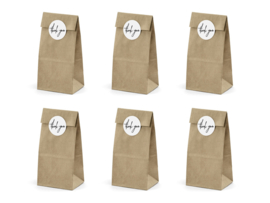 "Kraft bags ""Thank you"", met sticker, 6 stuks"