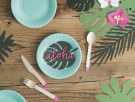 Papieren Aloha tekst decoratie (6 st)