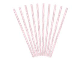 Papieren rietjes licht roze chevron