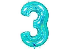 XXL Cijferballon 3 Glitter Aqua/Mint