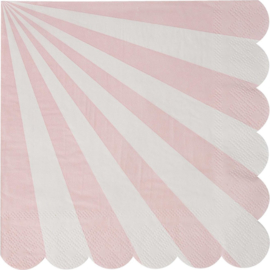 Roze wit gestreepte servetten 20st