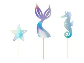 Mermaid Caketoppers 3 stuks