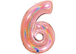 XXL Cijferballon 6 Glitter Rose Gold