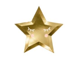 Gouden papieren sterrenbordjes, 6 stuks