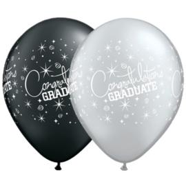 Bedrukte ballon: Congrats graduate,  5 stuks
