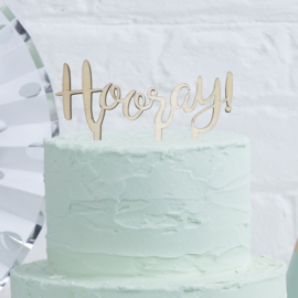 Hooray houten cake topper