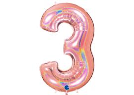 XXL Cijferballon 3 Glitter Rose Gold