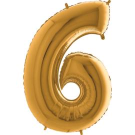 XXL Cijferballon 6 Goud