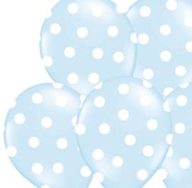 Ballonnen blauw - witte dots (5 stuks)