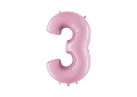 XXL Cijferballon 3 Pastel Pink