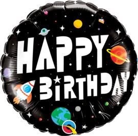 Folieballon Happy Birthday Space 18inch/45 cm