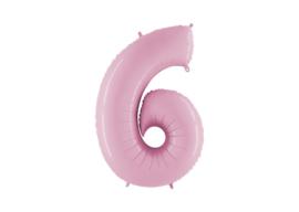 XXL Cijferballon 6 Pastel Pink
